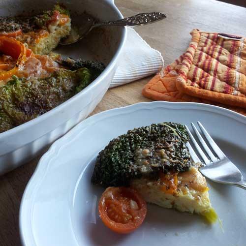 Quiche met kool en polenta
